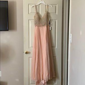 True Love Blush Pink Beaded Rhinestone Maxi Dress